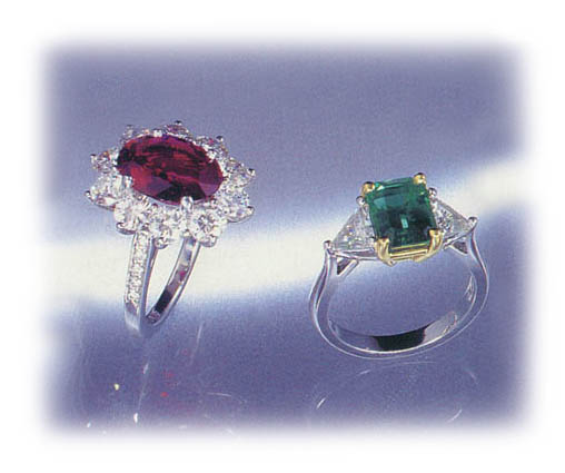Diamond and Rubby Ring, Diamond and Emerald Ring